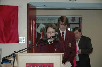 Pictured above are the Head Boy and Head Girl from the year of the opening of the library