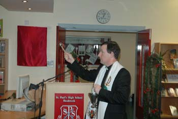 Pictured above is Father Dermot blessing the new Library