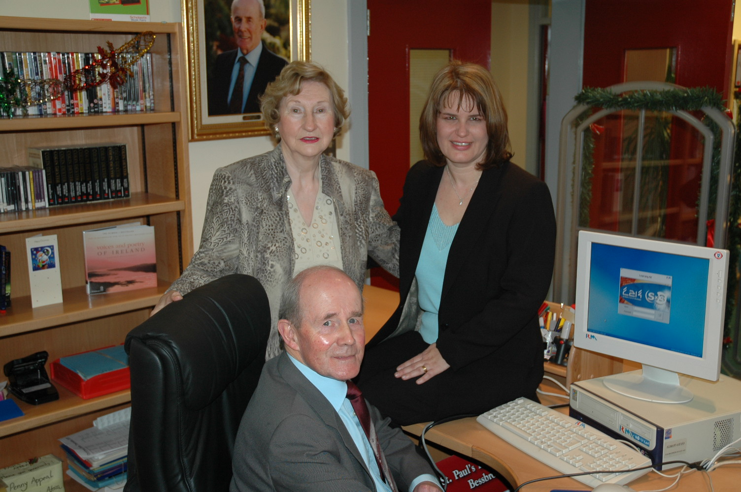 Pictured above are Mr Michael Warde, his wife Sheila and Mrs Michelle Morgan, our school librarian