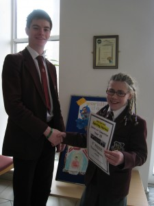 Nicole McGuinness , winner of the Year 10 Poster Competition with All Star Jamie Cosgrove