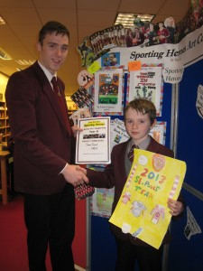 Sean Toner, Year 8, Highly Commended for his poster of St Paul's Sporting achievements in 2013 with Ciaron O'Hanlon.